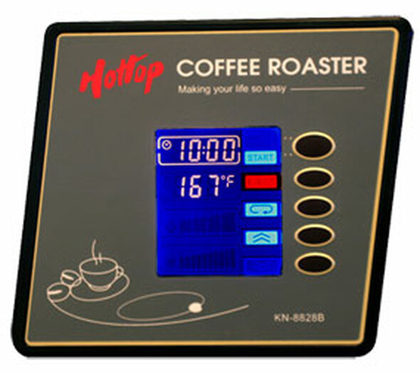 The control panel of a Hottop Home Coffee Roaster KN-8828B-2K
