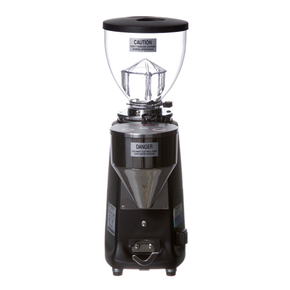 Mazzer Mini E in black, front view of grinder