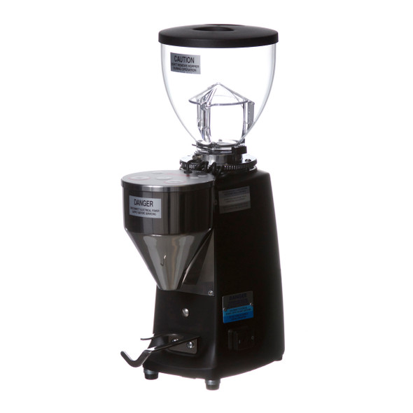 Mazzer Mni E grinder in black, angle view of grinder