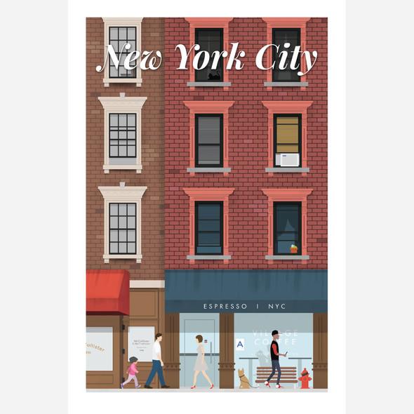 New York Coffee City Poster