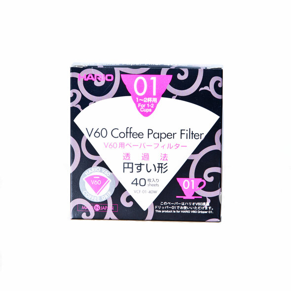Hario Coffee White Paper Filter Size 01 for V60 Brewer, 40 Count