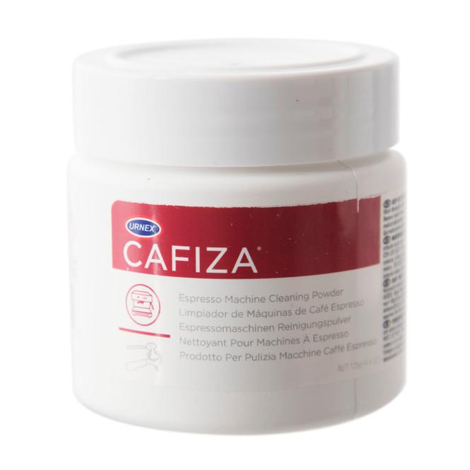 Jar of Urnex Cafiza espresso machine cleaning powder.