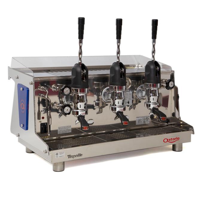 Astoria Rapallo AL lever espresso machine 3 group front angle