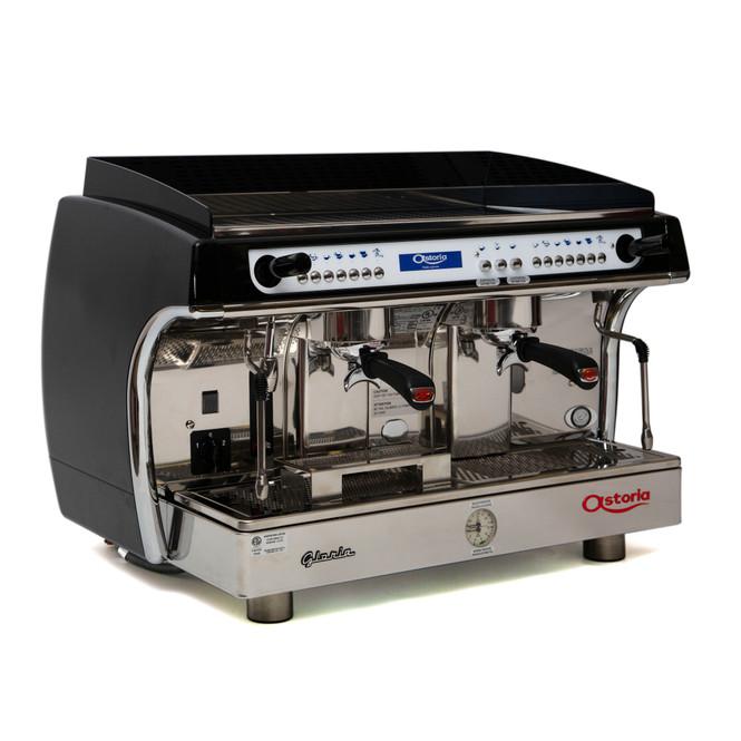 Astoria Gloria SAE 2 group automatic espresso machine front-angled view.