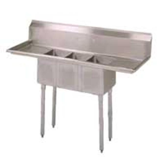 Atlantic Metalworks 0x14x10 Economy 2 Drainboard - 3 Bowl Sink