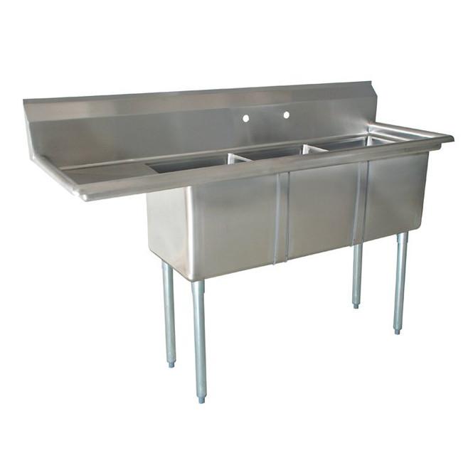 Atlantic Metalworks 18 x 18 x 12 3 Compartment 1 Drainboard Sink