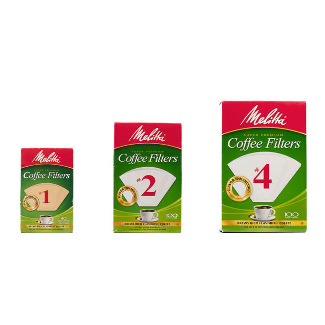 Melitta Coffee Filters size 1, size 2, and size 4