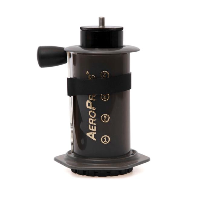 knock aergrind hand grinder with aeropress