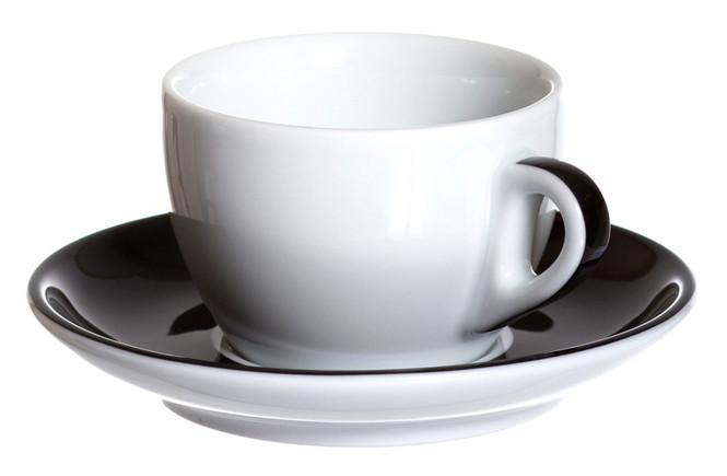 ancap black espresso, cappuccino, and latte cups