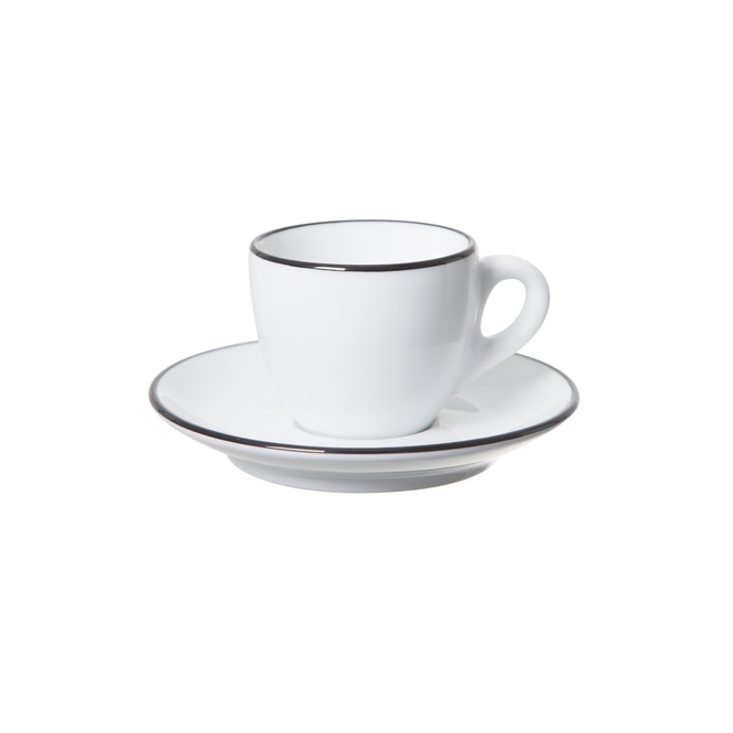 Ancap verona espresso cup with a black painted rim on cup and saucer