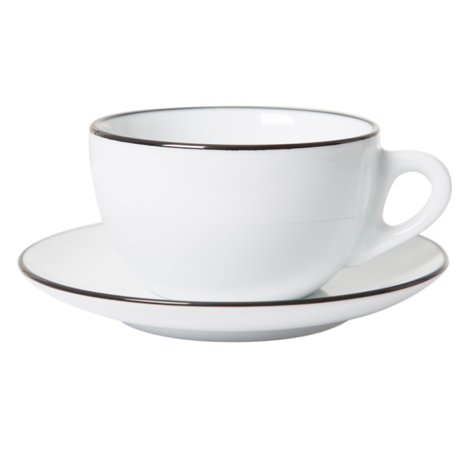 Verona latte cup with black painted rim on cup and saucer
