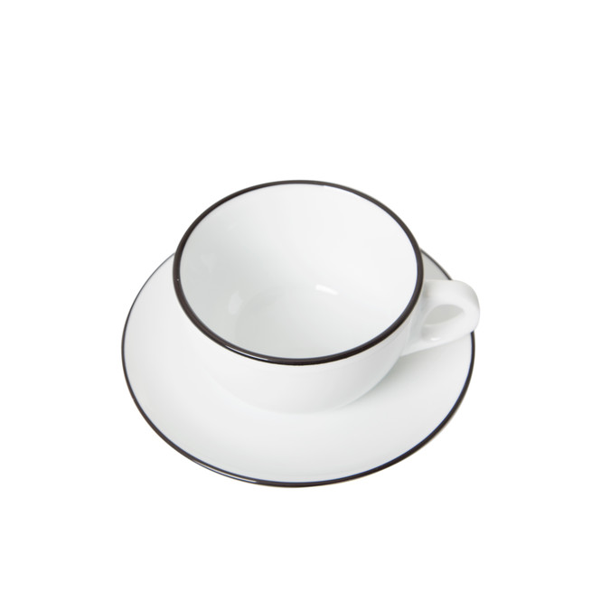 Latte cup with black banding on cup and saucer