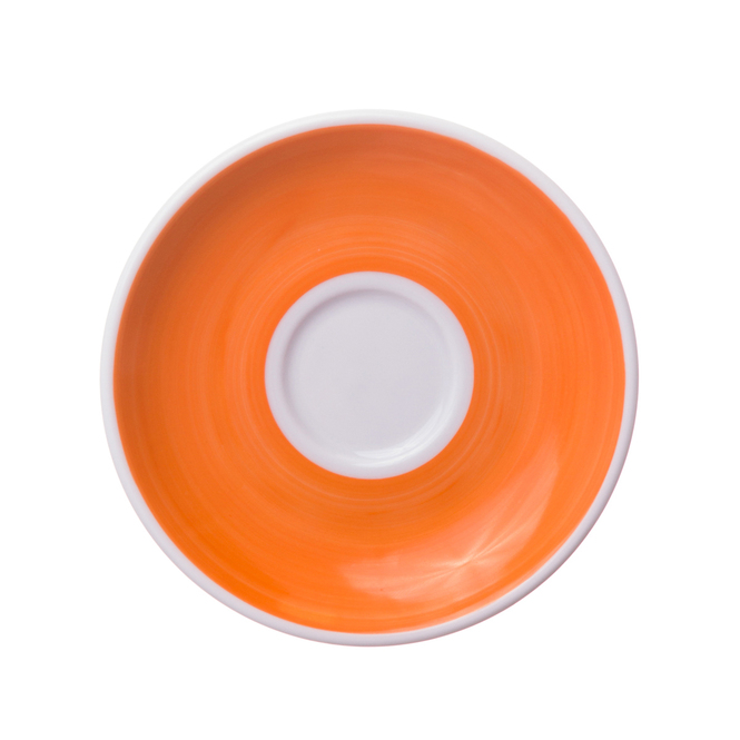 orange hand painted porcelain saucer