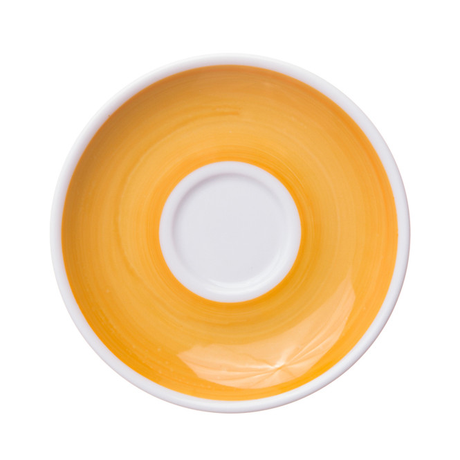 yellow painted espresso saucer