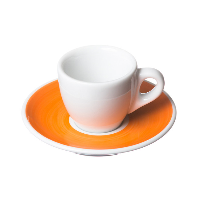 orange saucer with white porcelain cup