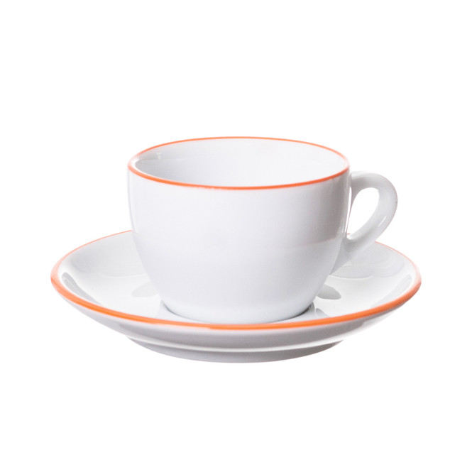 white cappuccino cup and saucer with orange painted rim