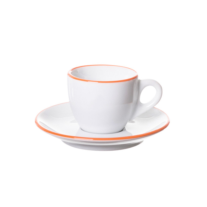 ancap verona espresso cup with an orange painted rim on cup and saucer