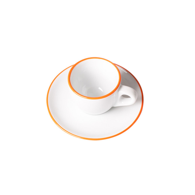 overhead view of ancap verona espresso cup in saucer with orange colored rim