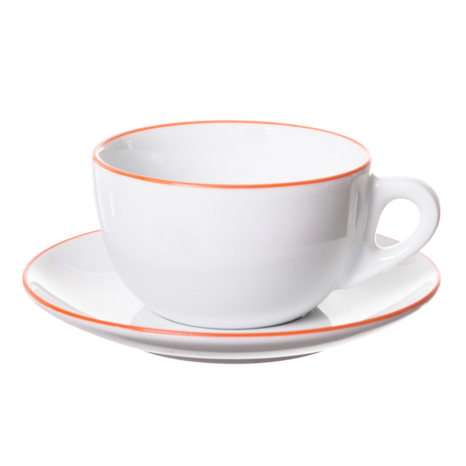 verona latte cup with orange painted rim on cup and saucer