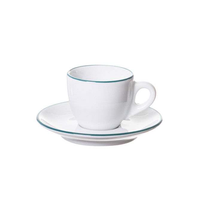 ancap verona espresso cup with an teal painted rim on cup and saucer