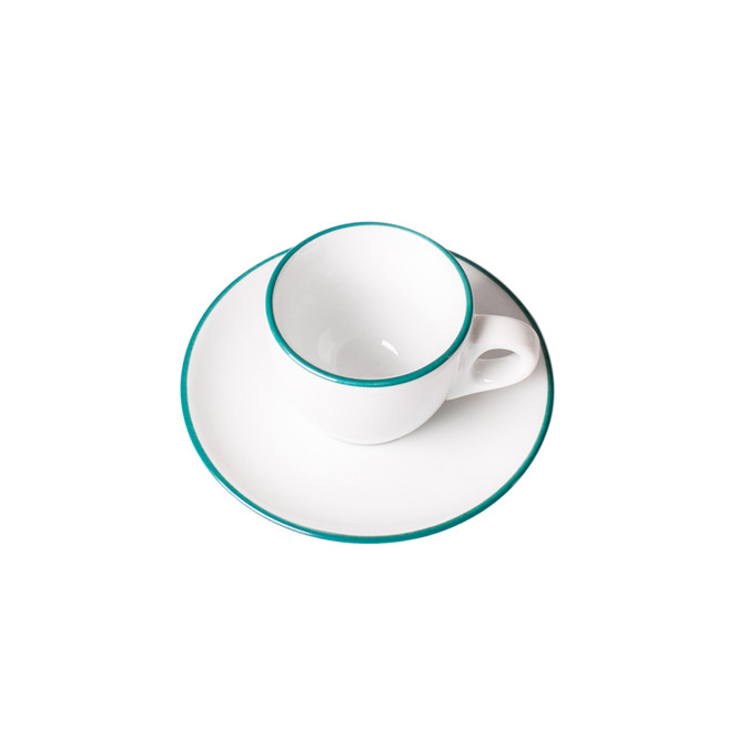 overhead view of ancap teal espresso cup and saucer in the painted-rim series