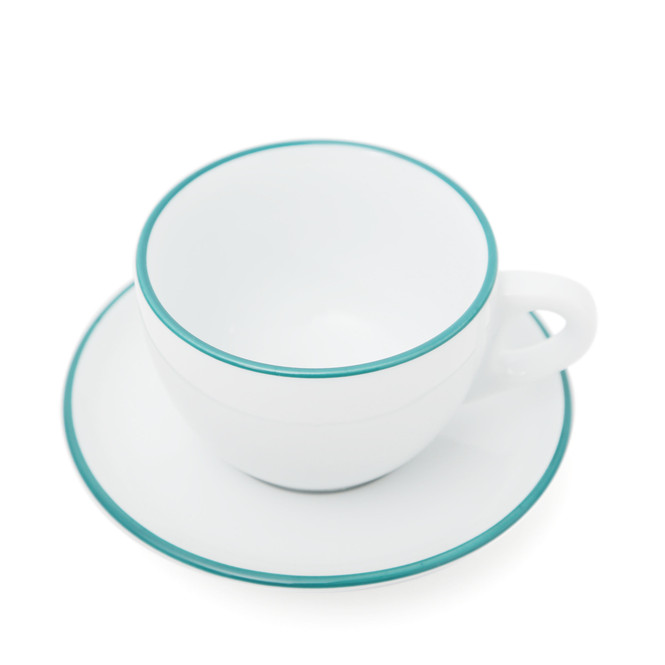 overhead view of white Ancap cup and saucer with real rim