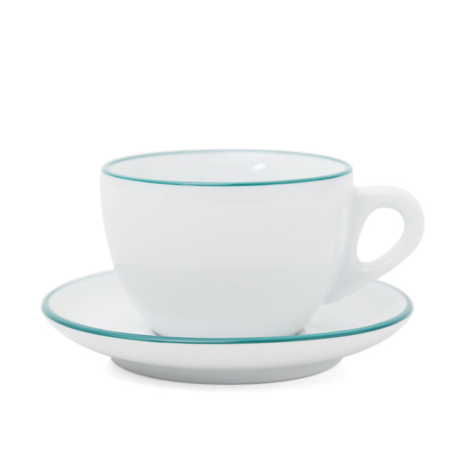 Ancap's white large cappuccino cup and saucer, with teal rim