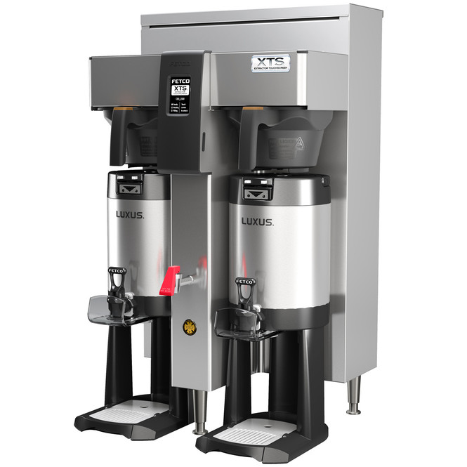 Fetco CBS-2142XTS Dual Station 1 Gallon Extractor Brewing System with Stainless Steel Brew Baskets