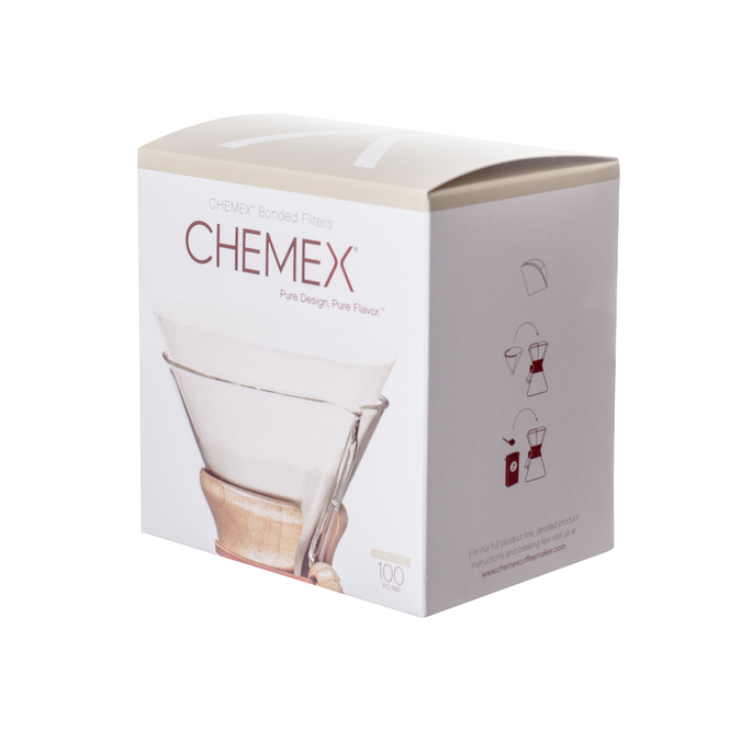 Chemex Bonded White Circular Coffee Filters, 100 count