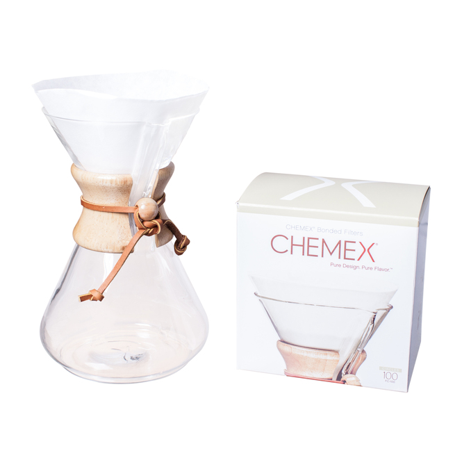 Chemex Bonded White Circular Coffee Filters, 100 Count with Chemex