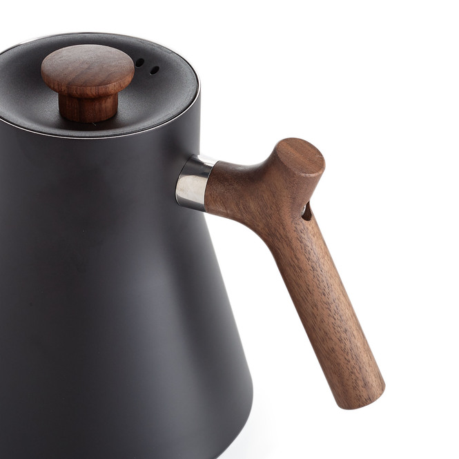 Fellow Stagg EKG Variable Temperature Pouring Kettle, Matte Black with Walnut Handle