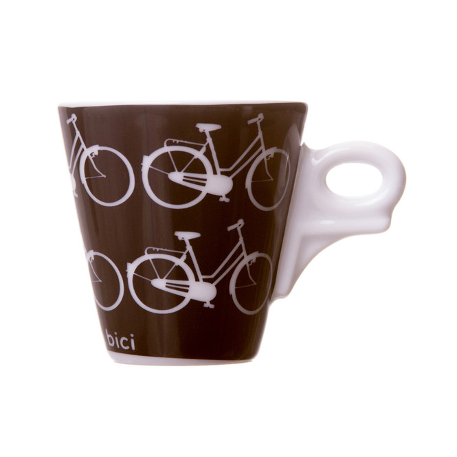 demitasse cup with bicycles