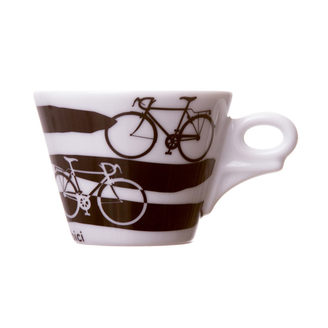 Italian cappuccino cup with bicycles