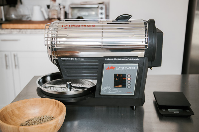 Hottop Home Coffee Roaster KN-8828B-2K in a home setting