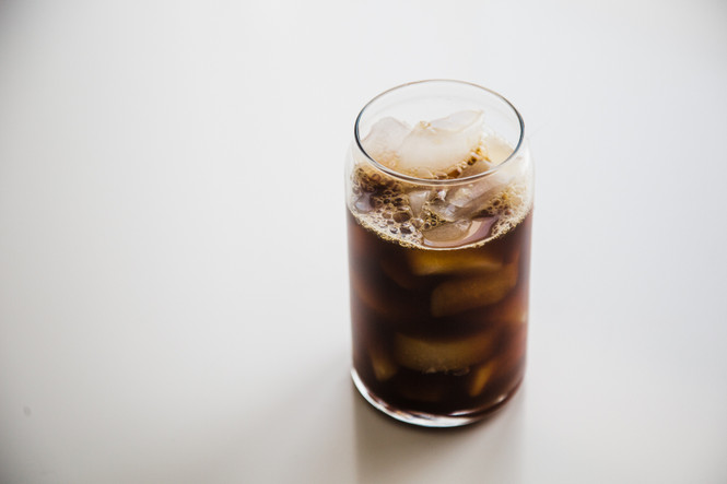 Coffee and Ice in a Libbey Can Shaped Glass