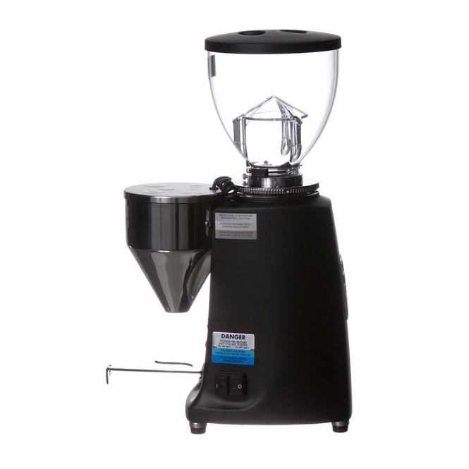 Mazzer Mini E in black, side view of grinder