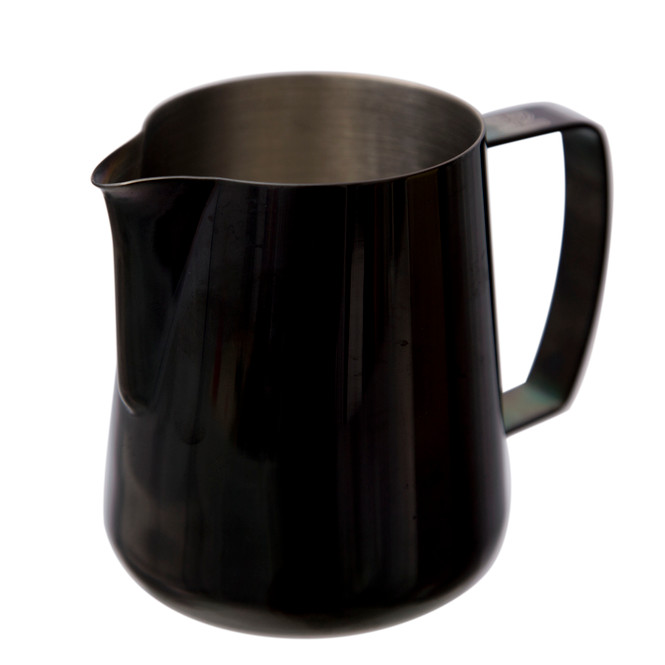 Focused on the Barista Hustle Precision Milk Pitcher's space black electrocoat.