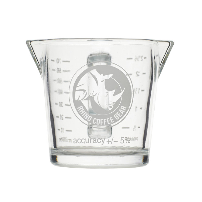 Front-view of Rhino Coffee Gear Double-Spouted Shot Pitcher, empty, on white background.