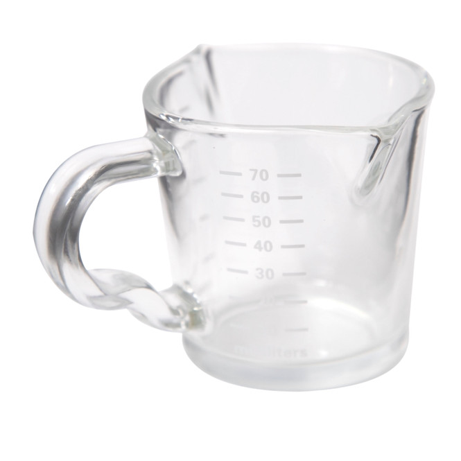 Side view of the Rhino Coffee Gear Double-Spouted Shot Pitcher.