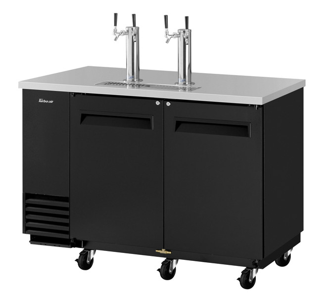 Turbo Air TBD-2SB-N6 - Black Two Half Barrel Kegs Beer Dispenser