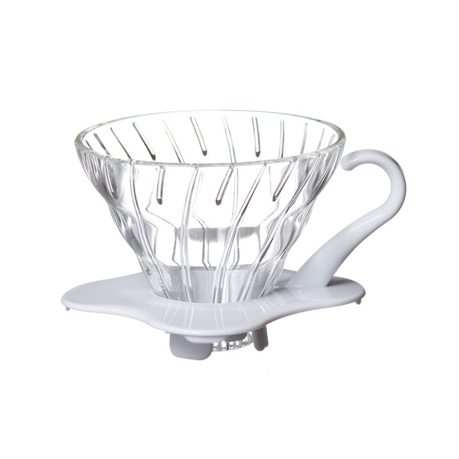 Hario V60 01 glass dripper with white base