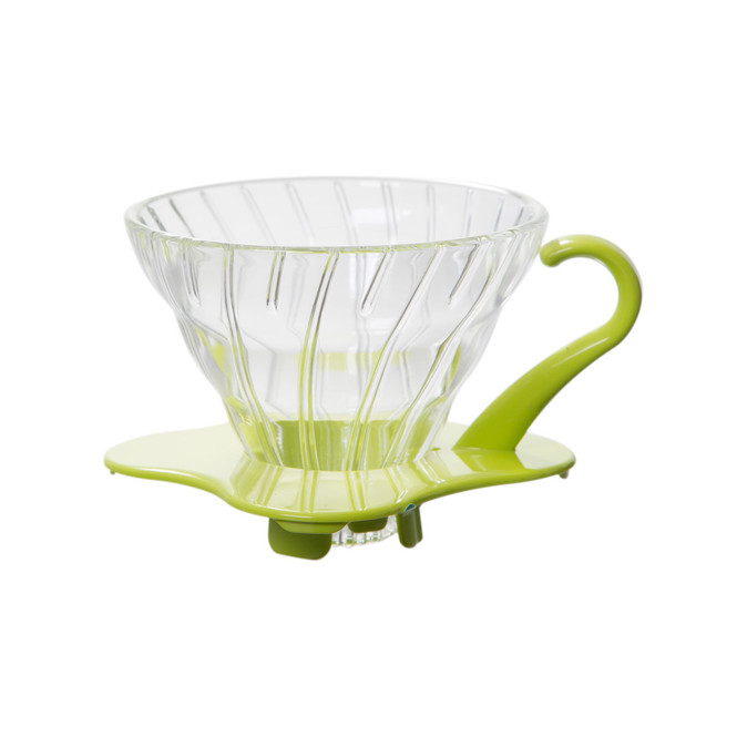 Hario V60 01 glass dripper with green base