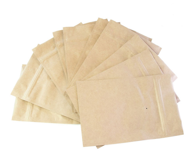 Coffee Valve Bags in natural paper, available in packs of 10.