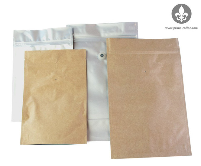 Coffee Valve Bags come in two sizes: 8 ounces (.5 pound) and 16 ounces (1 pound)