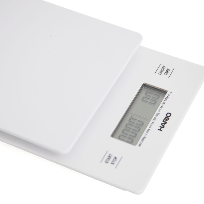 Hario Drip Scale in white, angle view