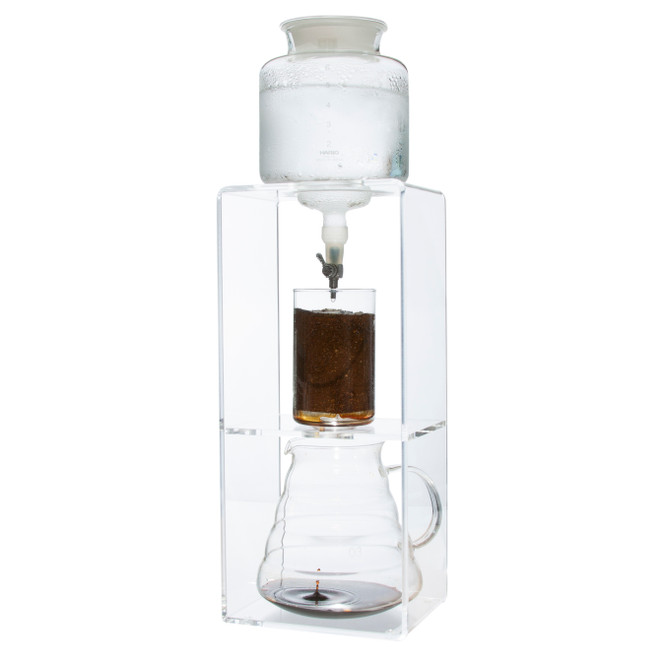 Hario's Cold Water Coffee Dripper is ready with ice, water, and coffee in place.