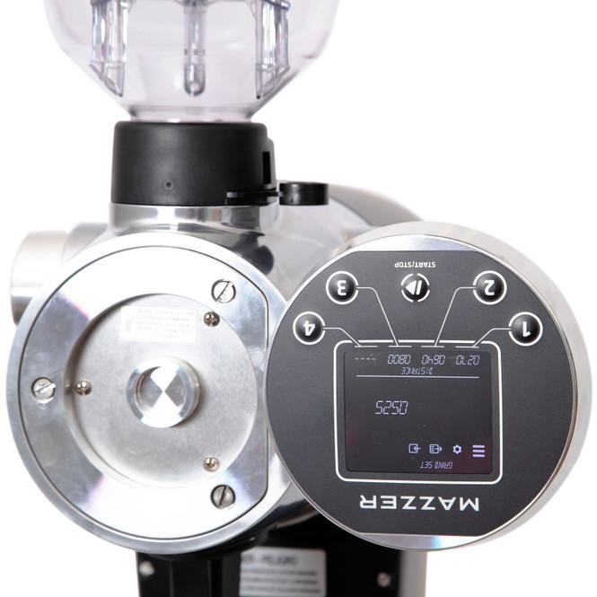 Mazzer ZM grinder behind the display