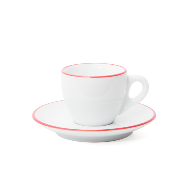 Ancap Verona Red Painted-Rim Cups and Saucers