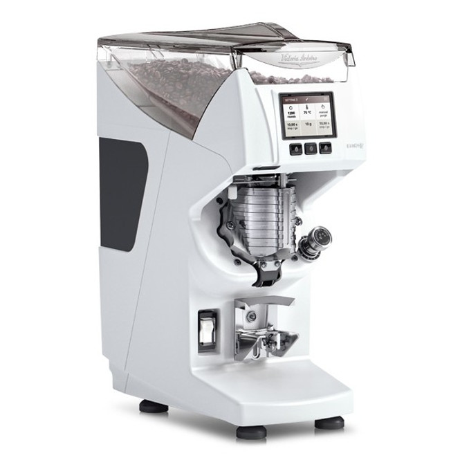 Victoria Arduino Mythos 2 Espresso Grinder in white, at an angle