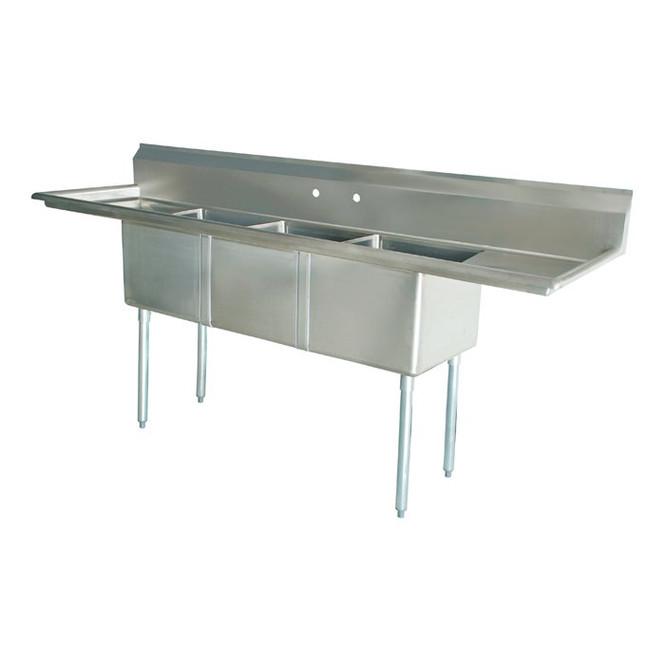 Atlantic Metalworks 3CS-181812-2 - 18x18x12 2 Drainboard 3 Bowl Sink